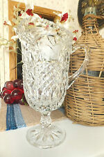 Itched Roses Crystal Glass Pedestal Pitcher