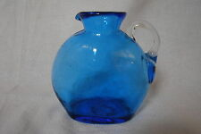 Vintage Clear Small Cobalt Blue Blown Glass Pitcher