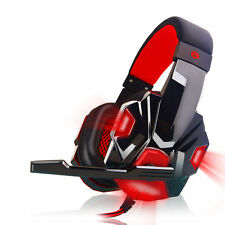 Red Gaming Headset Surround Stereo Headband Headphone USB LED with Mic for PC