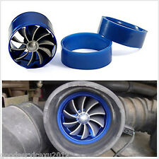 Car SUV Van Air Intake Fuel Gas Saver Single Fan Engine Enhancer Turbo Kit Blue
