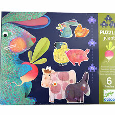 Djeco Dandelion And Friends Set of 6 Giant Farmyard Animal Jigsaw Puzzles Age 3+