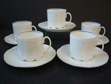 ROSENTHAL CLASSIC ROSE MONBIJOU EMBOSSED WHTE & SILVER 5 X CUPS & SAUCERS