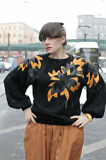 Damen Pullover schwarz black orange Blätter Leder leaves 80er True VINTAGE 80´s