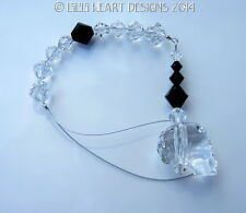 m/w Swarovski Crystal New Clear Skull Suncatcher Black Beads Lilli Heart Designs