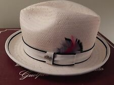 Lite Straw Drake Bailey of Hollywood Large Men's Hat Ivory White Feather Fedora