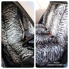 Full Set of Furry Grey Tiger Print Car Seat Covers - Fits Most Cars
