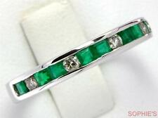 ~14K White Gold Natural Emerald & Diamond Wedding Anniversary Band Ring Size Q~