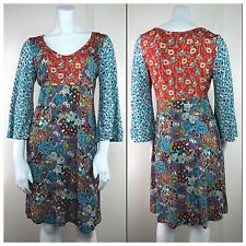 UNCLE FRANK Asian Floral Dress Bell Angel Sleeve Nothing Matches Boho Hippie S
