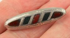 Antique Victorian c 1890 sterling silver Scottish agate pebble brooch pin