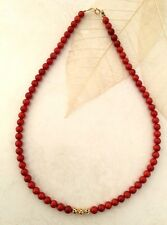 RED  CORAL NECKLACE  WITH 24K  GOLD  FILLED FILIGREE BEADS 19 INCH 2017