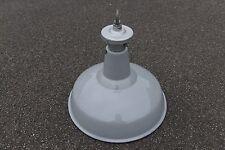 """Vintage Benjamin Saaflux Industrial Enamel Metal Factory Lampshade Grey 16"""""""
