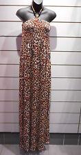 Maxi Dress Fits 1X 2X 3X Plus Brown Black Leopard Wood Bead Smocked Long NWT 135