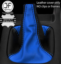 BLACK & BLUE LEATHER 5 SPEED MANUAL GEAR GAITER FITS SUBARU IMPREZA WRX 01-05