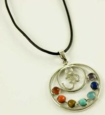 **BEAUTIFUL DOUBLE CIRCLE OM / OHM WITH CHAKRA CRYSTALS & WAXED CORD NECKLACE**