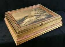 Vintage Gilt Wood Jewelry Box w Art Print Framed In Glass Lid 1920s-1930s FINE