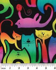 Fat trimestre katopia lumineux lunatique chats sur noir 100% coton tissu de matelassage
