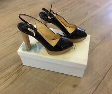 LUCIANO PADOVAN BLACK PATENT LEATHER SLINGBACK SANDALS EU 41 RRP £215 NEW IN BOX