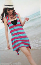Japan Korea fashion pink blue striped summer tank dress + tube top