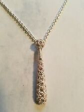 Silver/Crystal Drop Pendant - Nice Costume Jewelry - NEW