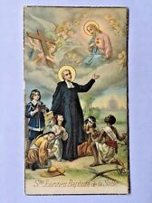 Antique Italy St. Joannes Baptista de la Salle Angels Christ Heaven Holy Card