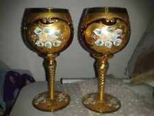 (2) FANCY CRANBERRY BOHEMIAN Goblet GLASS GOLD ENCRUSTED HAND PAINTED FLOWERS