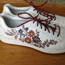Paul Smith Men's White Leather Sneakers with Unique Floral Embroidery