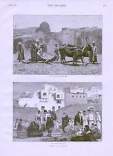 1882 LIFE IN EGYPT NATIVE CHAFF CUTTING MACHINE MARKET PLACE CAIRO