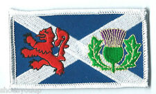 SCOTLAND SALTIRE LION RAMPANT WITH THISTLE EMBROIDERED PATCH BADGE