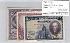 3 BILLETS  ESPAGNE - 25, 50 ET 100 PESETAS 1928