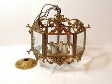 Vintage Hollywood Regency Spanish Brass Chandelier Glass Pane Candle Light Metal