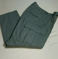 Vintage 1960 Military Green Wool Cargo Hunting Fishing Trousers Pants Mens 34x31
