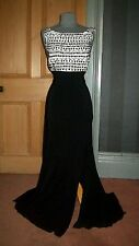 GORGEOUS BNWOT BEN DE LISI LONG BLACK/BEADED BODICED EVENING DRESS, SIZE 12
