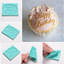 DIY Happy Birthday Silicone Mould Cake Decor Lace Impression Mat Baking Mold