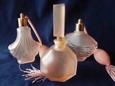 VINTAGE FROSTED GLASS PINK PERFUME BOTTLES WITH ATOMIZER SET OF THREE