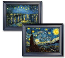 2 FRAMED VAN GOGH STARRY NIGHT & STARRY NIGHT OVER RHONE CANVAS GICLEE REPROS