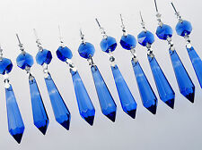 10 Large Blue Chandelier Glass Crystals Lamp Prisms Parts Hanging Drops Pendant