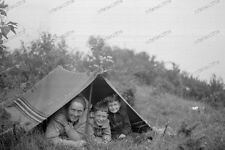 Vintage Photo negativ-1930-Young-cute-Boy-teen-when camping with mom-4