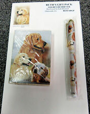 New Golden Retriever Dog Playing Card Pen & Note Pad Gift Set #RGO-6RGP Dogs