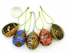 HAND PAINTED Russian EGGS Doll Set 5 Christmas Tree GOLD BLACK KLIMT design GIFT