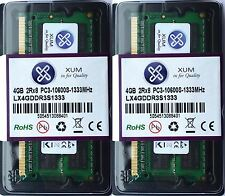 NEW Xum 8GB (2x4GB) DDR3-1333MHz PC3-10600 Non-ECC 204P Laptop SoDIMM Memory RAM