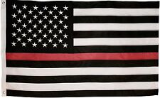 Thin Red Line Flag - 3X5 Foot with Embroidered Stars and Sewn Stripes - Black...