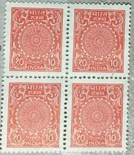 INDIA OLD REVENUE STAMPS BLOCK OF 4  MNH 10 PAISA