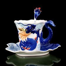 Porcelain Blue Raised Gilted Dragon Coffee Tea Set 1 Cup 1 Saucer 1 Spoon Gift
