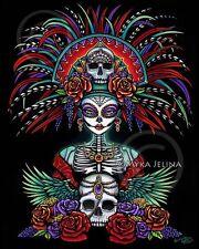 Dia De Muertos Candy Skull Bones CANVAS Print Festival Mictecacihuatl Signed