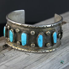 Vintage Navajo Turquoise Stone Sterling Silver Cuff Bracelet