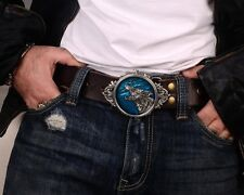 COOL Tin Alloy Enamel Color Blue werewolf Wolf Men Belt Buckles Cowhide Leather