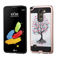 For LG Stylo 2 LS775 Brushed Metal HYBRID Rubber Case Phone Cover + Screen Guard