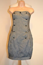 "DESIGNER ALL SAINTS ""BEDEYA""BLACK&WHITE TWEED WOOL BLEND CORSET DRESS UK8 VGC"