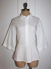 H&M TOP WHITE PEPLUM BLOUSE  WITH BACK TIES SZ 6