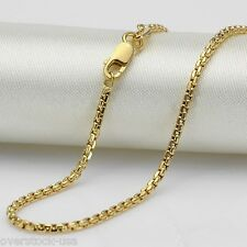 FINE 18 INCH 18K Yellow Gold Necklace Round Box Link Chain / 3.66g Au750